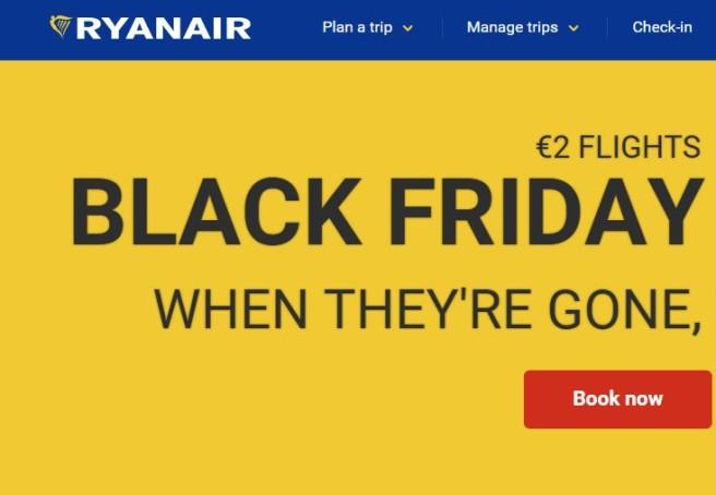 sconti sui viaggi durante il Black Friday 2017-ryanair