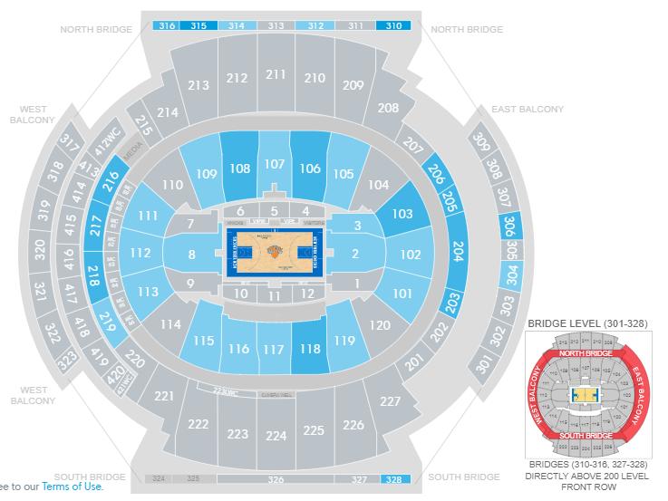vedere una partita NBA al madison square garden-mappa-stadio-ticketmaster