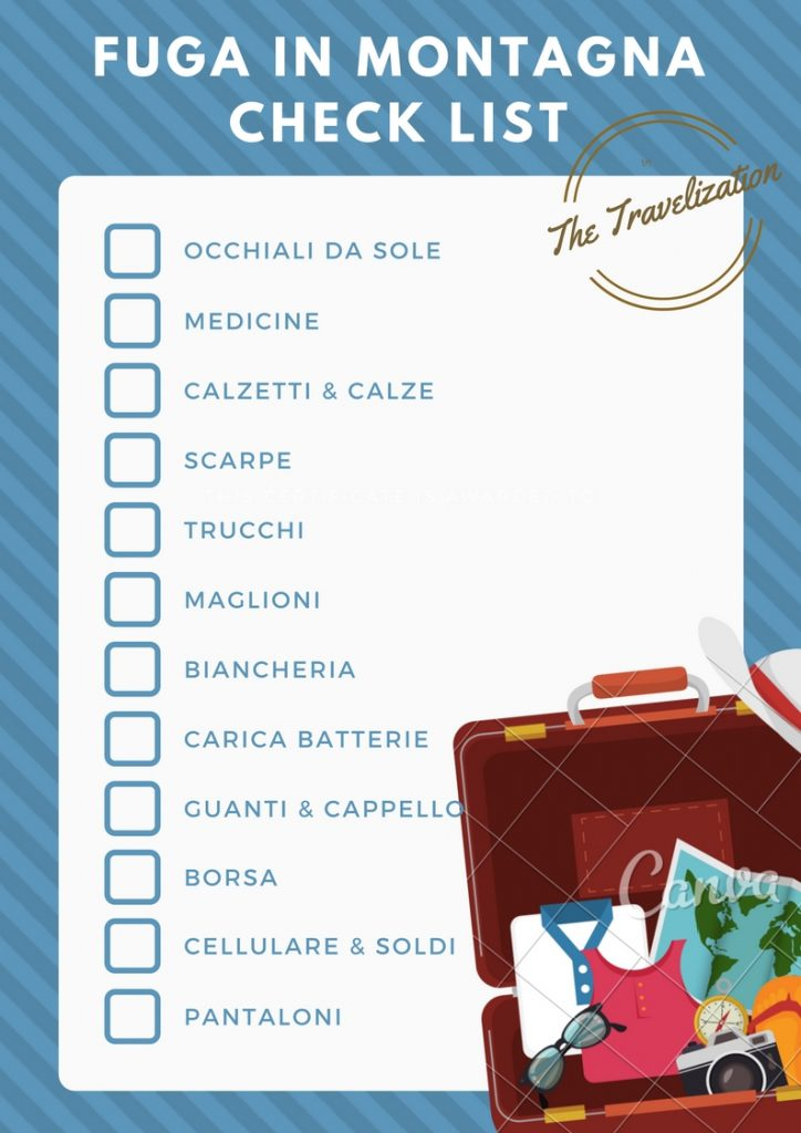 Fai un elenco delle attività che hai intenzione di fare durante la tua vacanza in montagna. Includere tutte le attività che richiedono attrezzature specifiche, come l'escursionismo o lo sci, insieme a quelli che richiedono abiti e scarpe speciali, come una cena in un villaggio di montagna.-check-list