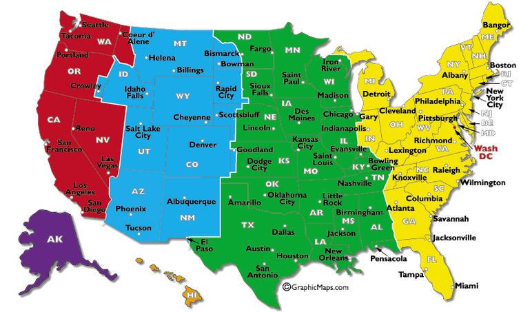 come organizzare un coast to coast in USA-fusi-orari-mappa