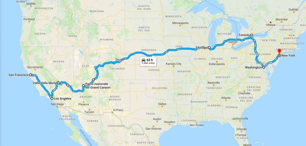 come organizzare un coast to coast in USA-itinerario