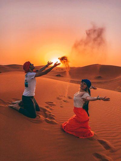 dormire nel deserto in Marocco-tramonto